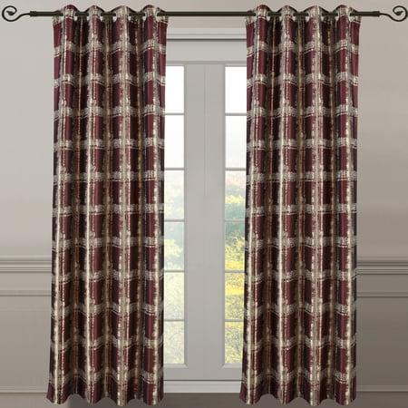 "Pair (Set of 2) Studio Grommet Top Curtain Panels Abstract Jacquard Curtain - 104 x 84"" Pair - Burgundy"