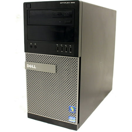 Refurbished Dell 990 TWR Desktop PC with Intel Core i5-2400 Processor, 4GB Memory, 250GB Hard Drive and Windows 10 Home (Monitor Not Included)