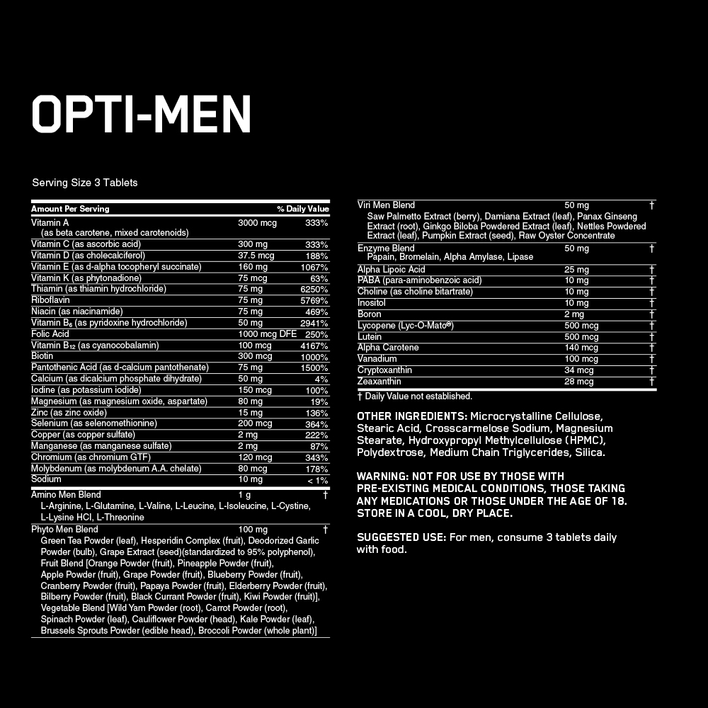 Optimum Nutrition Opti-Men Multivitamin (150ct) - Walmart.com - Walmart.com