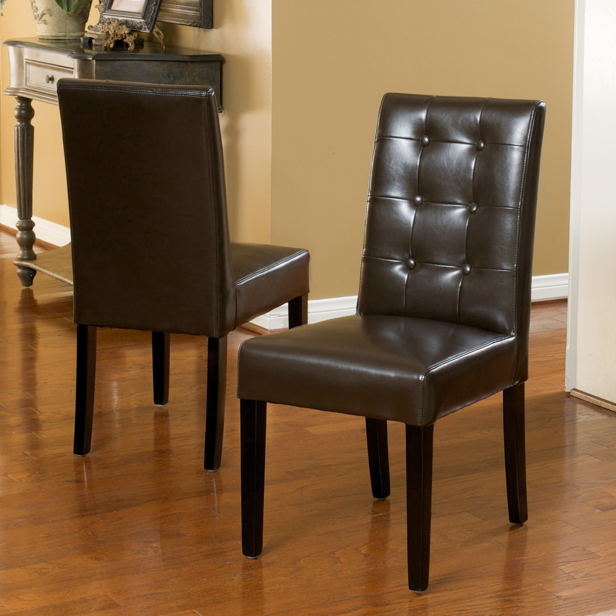 Ririe Brown Bonded Leather Dining Chairs (Set of 2)