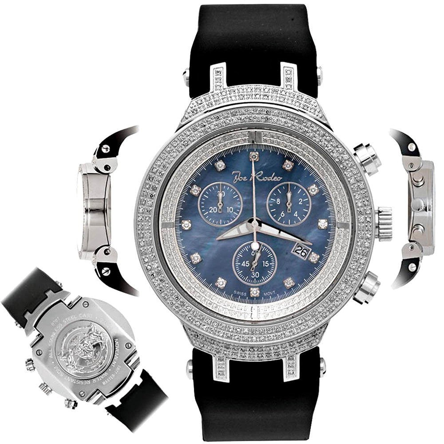 Mens Diamond Watch JJM29 Joe Rodeo Master 2.20 ct Blue Dial