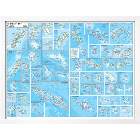 2014 Islands of the Pacific - National Geographic Atlas of the World, 10th Edition Framed Art Print Wall Art By National Geographic Maps ()