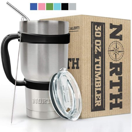 North Stainless Steel Vacuum Insulated 5-Piece Tumbler Set, 30 oz, Travel Mug For Home, Office, School â?? Like Yeti Tumbler For Ice Drink & Hot Beverage Stainless Steel 30