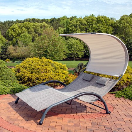 Super Sunnydaze Double Chaise Lounge Chair With Outdoor Canopy Shade And Removable Pillows Sienna Uwap Interior Chair Design Uwaporg