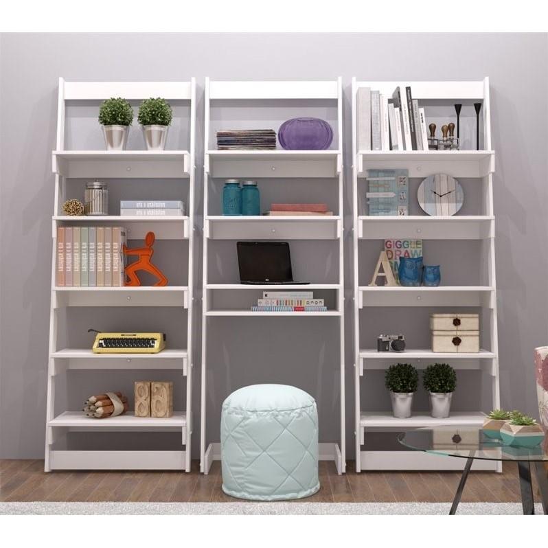 Manhattan Comfort Carpina 5 Shelf Bookcase in White