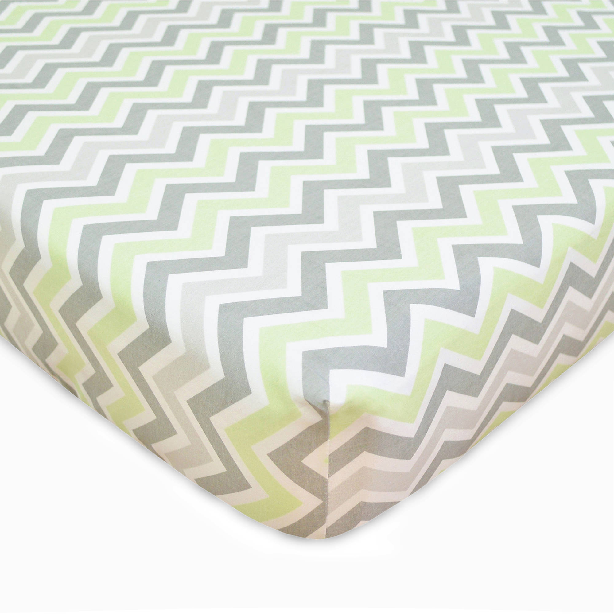 TL Care 100 Percent Cotton Percale Fitted Crib Sheet, Celery Zigzag