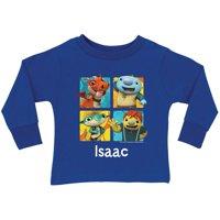 Personalized Wallykazam Squares Royal Boys' Blue Long Sleeve T-Shirt