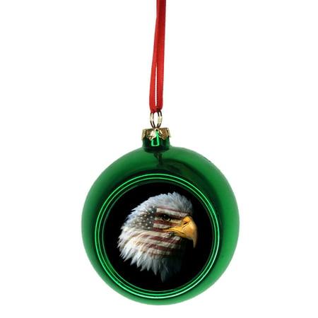 Patriotic Christmas Ornaments.Usa Flag Imprint In Bald Eagle Patriotic Bauble Christmas Ornaments Green Bauble Tree Decoration
