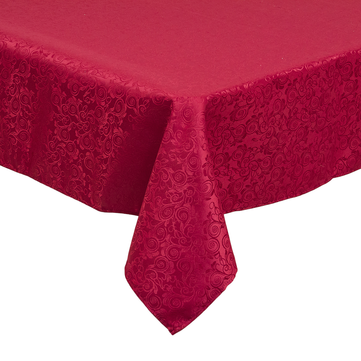 70 x 108 in. Rectangular Shimmering Filigree Tablecloth Burgundy