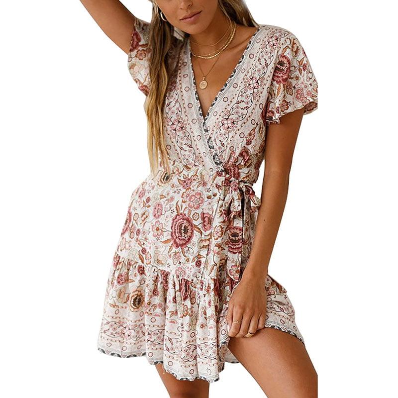 Womens Boho Floral Bandeau Short Kaftan Mini Dress Summer Casual Tunic Sundress