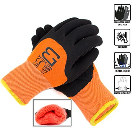 Safety Winter Insulated Double Lining Rubber 3/4Coated Work Gloves, 3 pairs/ pack,