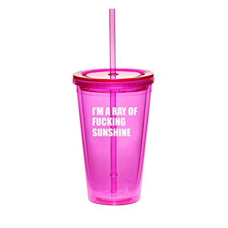 Funny Halloween Memes Tumblr (16oz Double Wall Acrylic Tumbler Cup With Straw I'm A Ray Of Fcking Sunshine Funny)