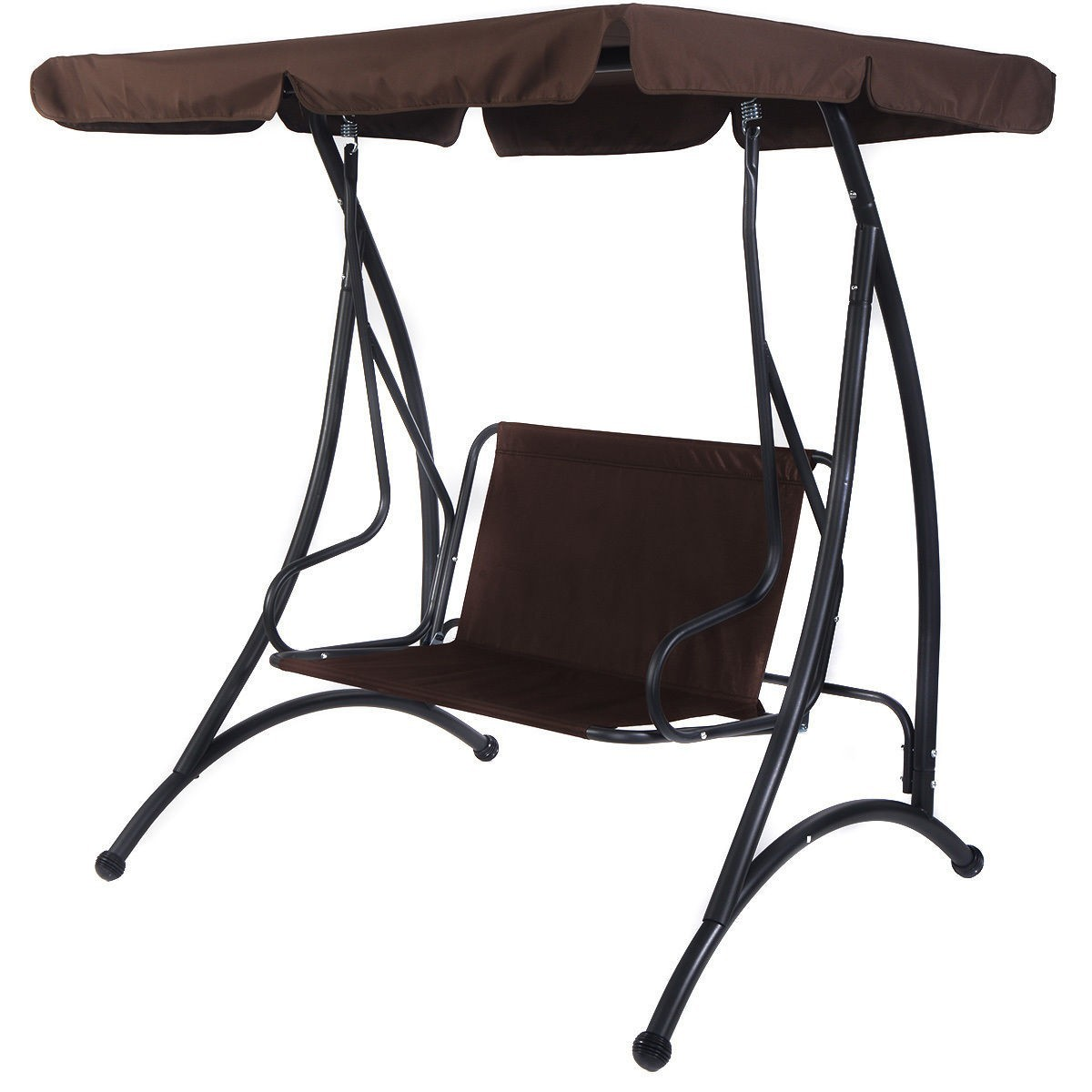 2 Person Canopy Swing Chair Patio Hammock Seat Cushioned Furniture Steel Brown