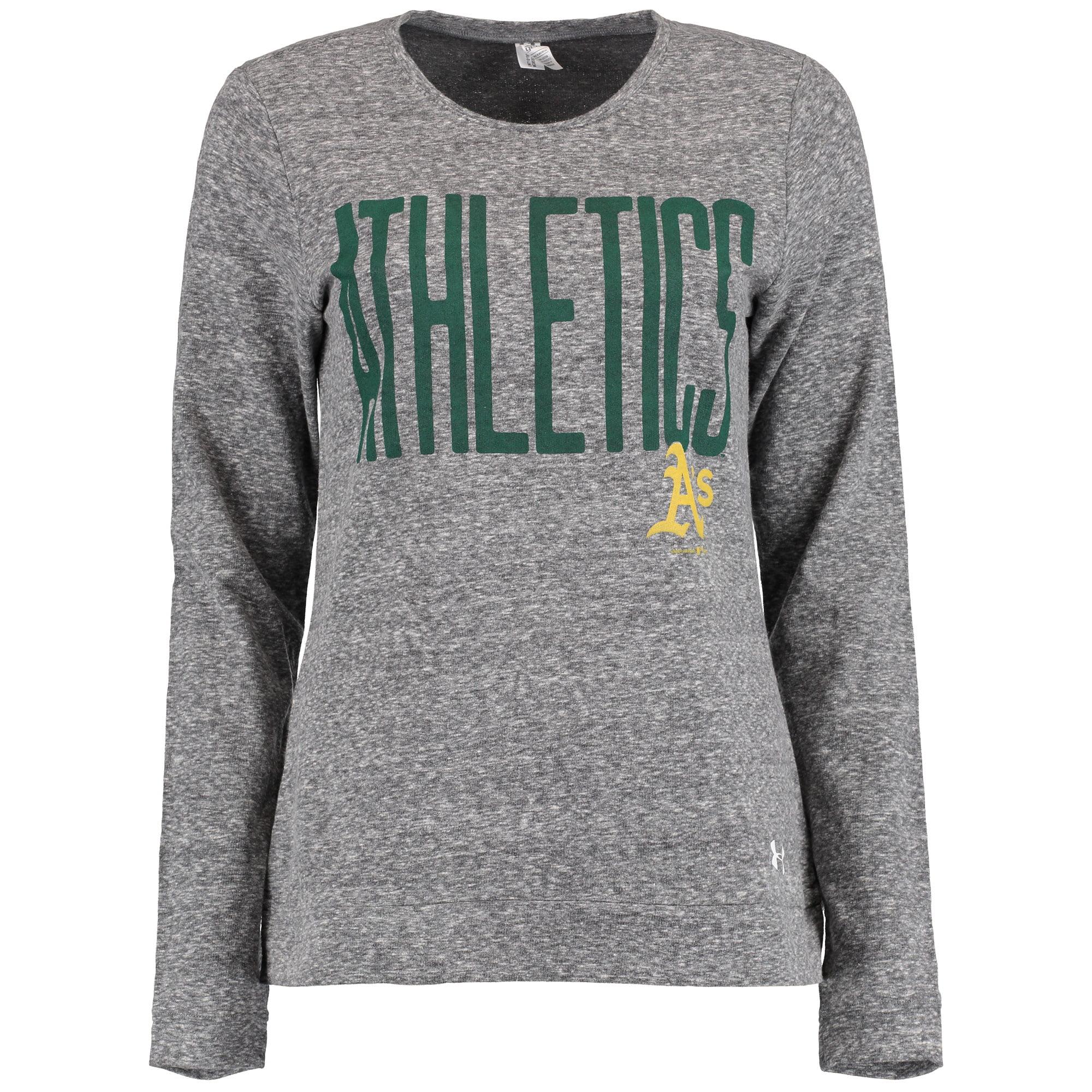 Oakland Athletics Under Armour Women's Terry Crewneck Pullover Sweatshirt - Heather Gray