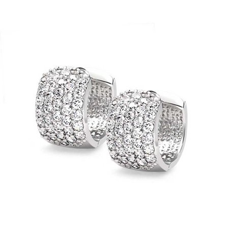 4 Four Row Cubic Zirconia Pave Clear CZ Wide Huggie Hoop Earrings For Women Silver Plated Brass .5 Dia - image 3 de 5