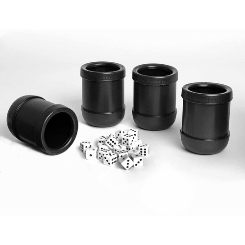 Dice Cups, Set of 4 Professional Grade Plastic with 20 Dice and Instructions for Liar's Dice