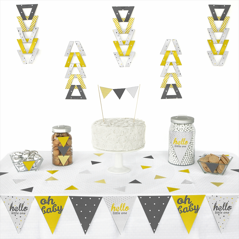 Hello Little One - Yellow and Gray - Triangle Neutral Baby Shower Party Decoration Kit - 72 Pieces