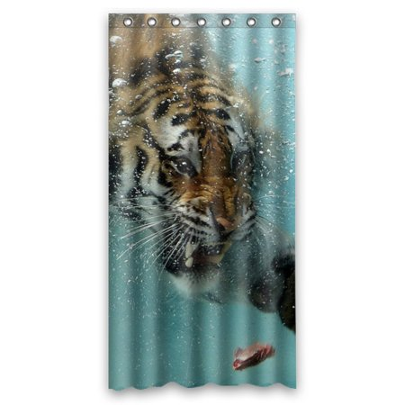 GCKG King Of Forest Tiger Swimming To A Meat Bathroom Shower Curtain Rings Included 100 Polyester Waterproof 36x72 Inches