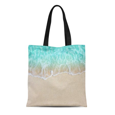 ASHLEIGH Canvas Tote Bag Blue Sand Beautiful Ocean Wave on Sandy Beach Yellow Durable Reusable Shopping Shoulder Grocery Bag - Yellow Sand Beach