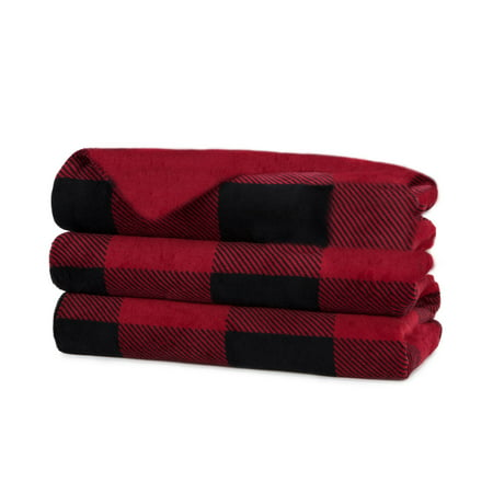 Sunbeam Heated Electric Microplush Throw Blanket, 60u0022 x 50u0022, Red Buffalo Plaid
