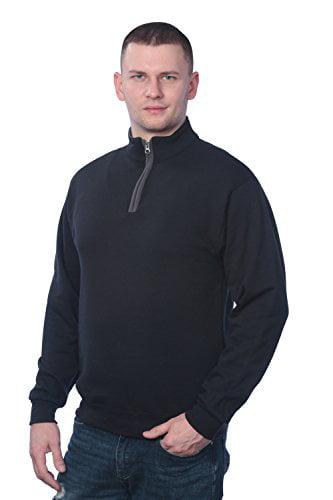 Fruit of the Loom Men's 1/4 Zip Fleece Sweatshirt, Black/Charcoal Grey, 2XL