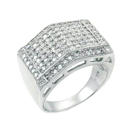 16 mm Wide Mans ring designer Brilliant cut Solid 925 Silver