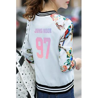 Junior Beautiful Floral Sleeve Striped Jacket