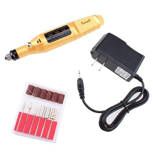 AGPtek Golden Electric Manicure pedicure machine Nail Art File Drill Pen 6 Bits