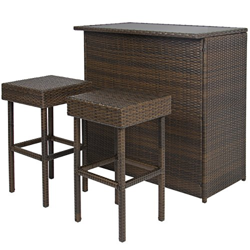 Best Choice Products Wicker 3-Piece Outdoor Bar Set