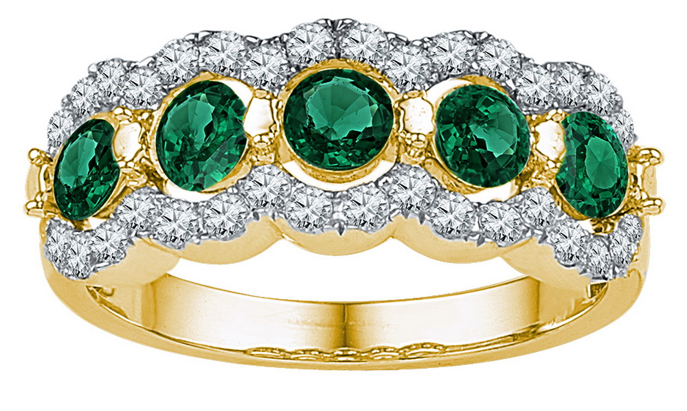 Size 7 Solid 10k Yellow Gold Round Green Simulated Emerald And White Diamond Prong Set Curved Wedding Band OR Fashion... by AA Jewels