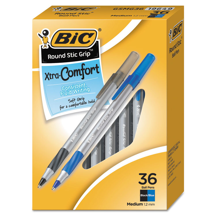 BIC Round Stic Grip Xtra Comfort Ballpoint Pen, 1.2 mm, Black/Blue, 36-Pack