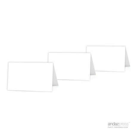 White Color Blank Table Tent Printable Place Cards, 20-Pack
