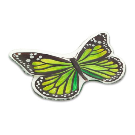 Set of 3 Green Butterfly Shaped Plates with Black and White Accents 18