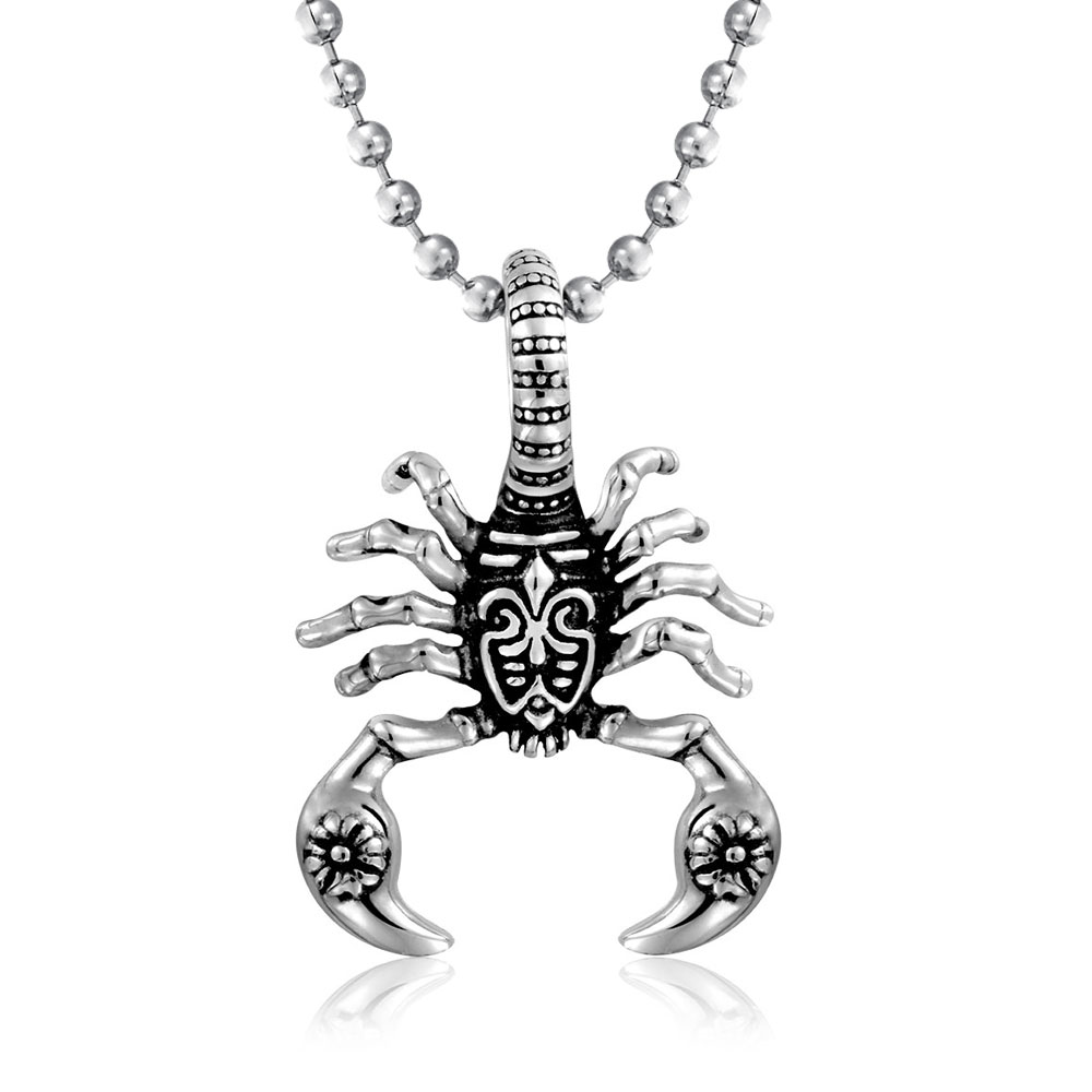 MoAndy Stainless Steel Jewelry Stainless Steel Necklace for He Pendant Necklace Skull Silver