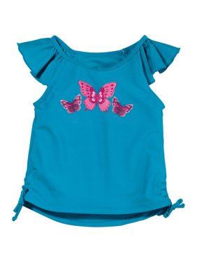 Sun Smarties Baby and Toddler Girl Tankini - Blue Butterfly Design - Sleeveless Swim Top
