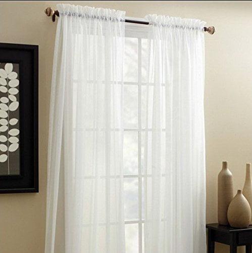 "Decotex 2 Piece Elegant Solid Sheer Window Curtain Panels Treatment Drapes (55"" X 108"", White)"