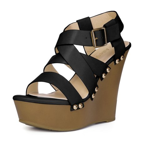 Women's Open Toe Platform Strappy Wedge Sandals Black US 11 - image 7 of 7