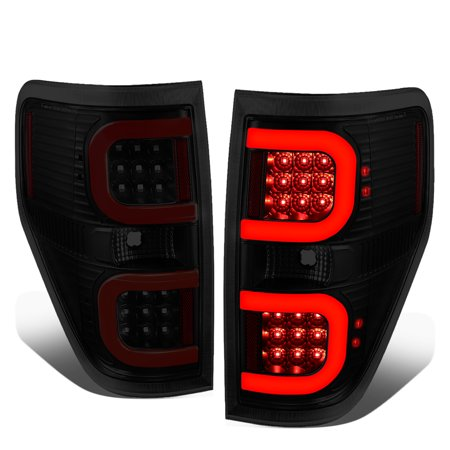 For 2009 to 2014 Ford F150 Pair Dual Red LED C -Bar Tube Tail Light Rear Brake Lamps Black /