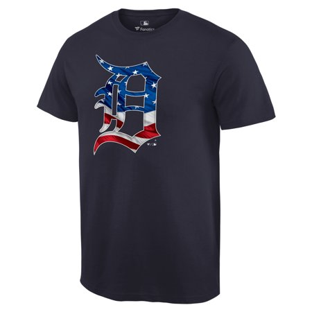 Detroit Tigers Fanatics Branded 2019 Stars & Stripes Big & Tall Primary Logo Banner Wave T-Shirt - Navy