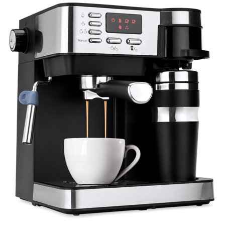 Best Choice Products 3-in-1 15-Bar Espresso, Drip Coffee, and Cappuccino Latte Maker Machine w/ Steam Wand Milk Frother, Thermoblock System, Tumbler, Portafilters, LED (Best Piston Espresso Machine)