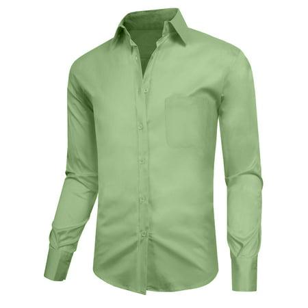 J. METHOD Men's Classic Slim Fit Button Down Long Sleeve Solid Color Dress Shirts S-2XL