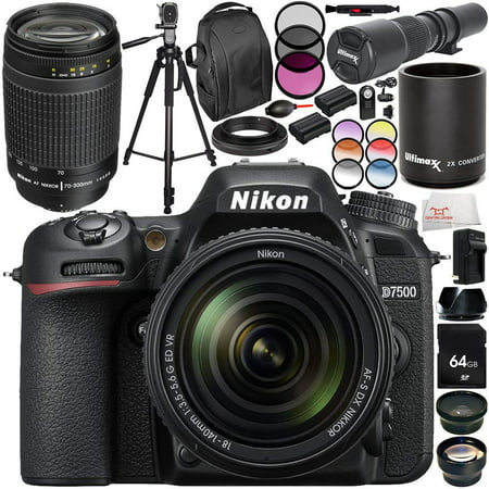 Nikon D7500 DSLR Camera with 18-140mm Lens and 70-300mm f/4-5 6G Lens 20PC  Accessory Bundle - International Version (No Warranty)