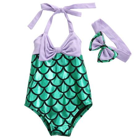 Little Girls Mermaid One-Piece Swimsuit + Bowknot Headband