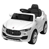 GHP 6V Maserati White Plastic 4-Tire Suspension Kids Ride-On Car w Remote & Charger