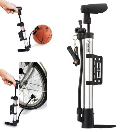Insten New Silver Mini Design High Pressure Air Stick Pump Inflator Us For Bicycle Bike Tire Ballon Football Basketball
