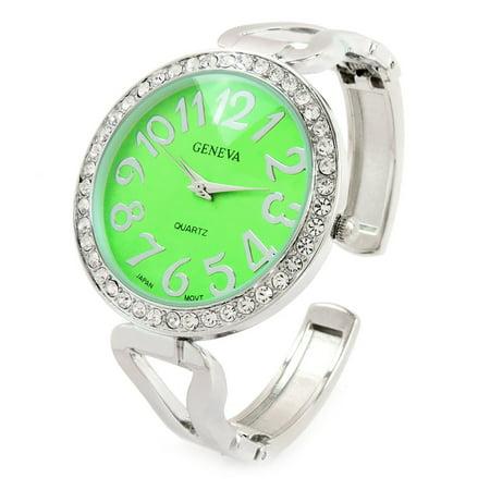 Silver Green Crystal Bezel Large Face Easy to Read Women's Bangle Cuff (Geneva Green)