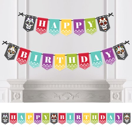 Day Of The Dead - Birthday Party Bunting Banner - Sugar Skull Birthday Party Decorations - Happy Birthday (Sugar Skull Happy Birthday)