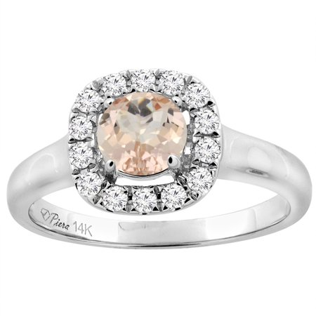 14K White Gold Natural Morganite Halo Engagement Ring Round 6 mm Diamond Accents, size 9