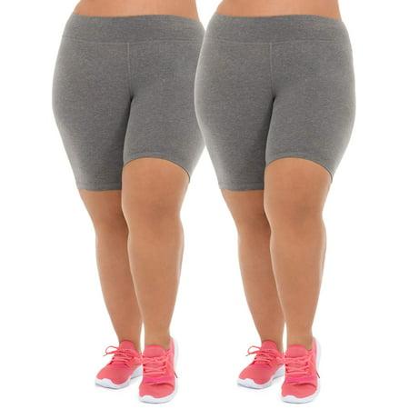 a1af27e489 Athletic Works - Women s Plus Size Active 2-Pack Bike Shorts Bundle -  Walmart.com
