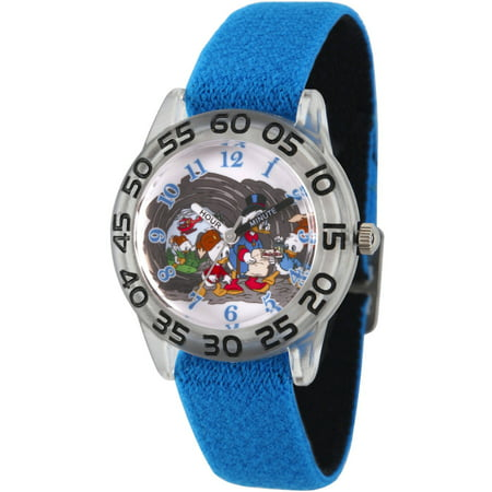 Duck Tales Scrooge Mc Duck, Dewey, Huey, Louie, Launchpad McQuack Boys' Clear Plastic Time Teacher Watch, Reversible Blue and Black Nylon Strap